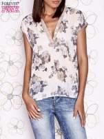 Beżowa koszula z kwiatowym motywem i ażurowym tyłem                                  zdj.                                  2