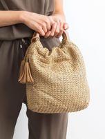 Beżowa mała torebka pleciona do ręki                                  zdj.                                  1