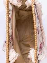 Beżowa plażowa torba w kwiaty na sznurku                                  zdj.                                  3