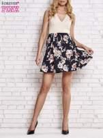 Beżowa sukienka z kwiatowym dołem i z suwakiem z tyłu                                                                          zdj.                                                                         5