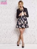 Beżowa sukienka z kwiatowym dołem i z suwakiem z tyłu                                                                          zdj.                                                                         2