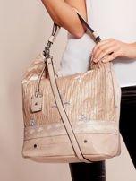 Beżowa torba z łączonych materiałów w stylu japońskim                                  zdj.                                  5