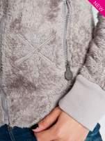 Beżowa włochata bluza z kapturem i suwakami                                  zdj.                                  5