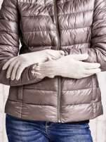 Beżowe długie rękawiczki z przeszywanym ściągaczem                                  zdj.                                  2