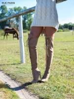 Beżowe zamszowe wiązane kozaki faux suede za kolano                                  zdj.                                  1
