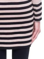 Beżowo-czarny pasiasty otwarty sweter kardigan z prążkowanym kołnierzem                                  zdj.                                  8
