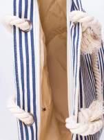 Beżowo-granatowa plażowa torba w paski na sznurku