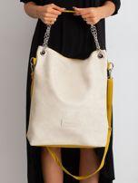 Beżowo-oliwkowa torba z ekoskóry                                  zdj.                                  2