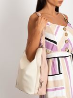 Beżowo-różowa torba city bag                                  zdj.                                  3