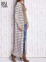 Beżowy długi sweter w paski                                  zdj.                                  3