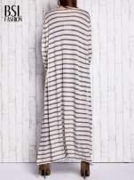 Beżowy długi sweter w paski                                  zdj.                                  2