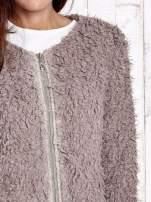 Beżowy futrzany sweter kurtka na suwak                                                                          zdj.                                                                         6