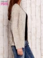 Beżowy otwarty włochaty sweter                                                                           zdj.                                                                         3