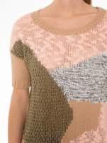 Beżowy patchworkowy sweter z krótkim rękawem                                                                          zdj.                                                                         5