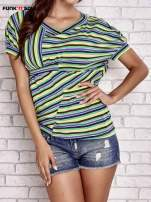 Beżowy t-shirt w kolorowe paski FUNK N SOUL                                  zdj.                                  1