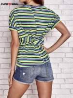 Beżowy t-shirt w kolorowe paski FUNK N SOUL                                  zdj.                                  2