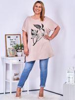 Beżowy t-shirt z kwiatem  PLUS SIZE                                  zdj.                                  4