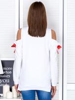 Biała bluza cut out z wstążkami                                  zdj.                                  2