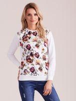 Biała bluza vintage z nadrukiem kwiatów                                  zdj.                                  1