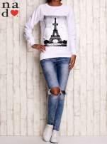 Biała bluza z motywem Wieży Eiffla                                  zdj.                                  3