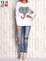 Biała bluza z nadrukiem słonia                                  zdj.                                  4