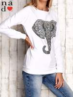 Biała bluza z nadrukiem słonia                                  zdj.                                  3