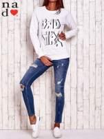 Biała bluza z napisem BAD GIRL                                  zdj.                                  2