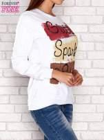 Biała bluza z napisem GLITTER SPARKLE SHINE                                                                          zdj.                                                                         3