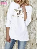 Biała bluza ze złotym napisem i suwakiem                                  zdj.                                  2