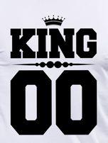 Biała bluzka męska z nadrukiem na plecach KING dla par                                  zdj.                                  2