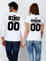 Biała bluzka męska z nadrukiem na plecach KING dla par                                  zdj.                                  3