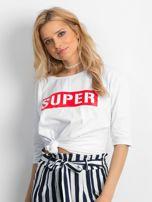Biała bluzka oversize z napisem SUPER                                   zdj.                                  1