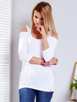 Biała bluzka z wycięciami                                   zdj.                                  1