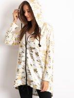 Biała damska bluza z kapturem ze złotym połyskiem                                  zdj.                                  5