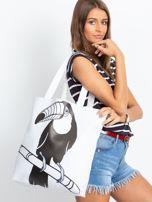 Biała duża torba z nadrukiem                                  zdj.                                  4