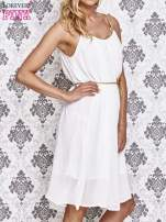 Biała grecka sukienka ze złotym paskiem                                  zdj.                                  3