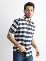 Biała koszula męska slim fit w kratę                                  zdj.                                  1