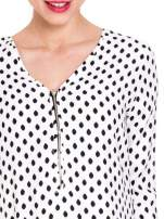 Biała koszula w kropki z dekoltem z suwakiem                                  zdj.                                  5