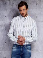Biała kraciasta koszula męska PLUS SIZE                                  zdj.                                  1