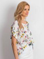 Biała kwiatowa bluzka z falbanami na rękawach                                  zdj.                                  2