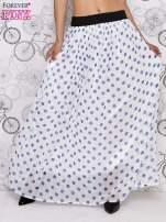 Biała spódnica maxi w niebieskie grochy
