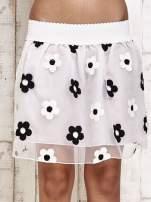 Biała spódnica mini w kwiaty                                                                          zdj.                                                                         1
