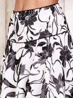 Biała spódnica w kwiaty z karczkiem                                                                          zdj.                                                                         3