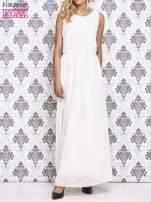 Biała sukienka maxi z biżuteryjnym dekoltem                                  zdj.                                  1