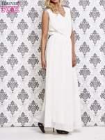 Biała sukienka maxi z pagonami z dżetów                                  zdj.                                  3