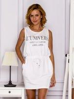 Biała sukienka z troczkami                                  zdj.                                  1