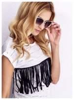 Białe KOCIE OCZY okulary przeciwsłoneczne z cyrkoniami w stylu RETRO                                   zdj.                                  2