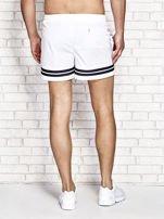 Białe męskie szorty kąpielowe w marynarskim stylu                                  zdj.                                  3