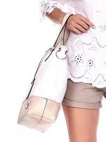 Biało-beżowa torba shopper z eko skóry z odpinanym paskiem                                  zdj.                                  3