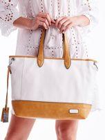 Biało-brązowa torba shopper z eko skóry z odpinanym paskiem                                  zdj.                                  2